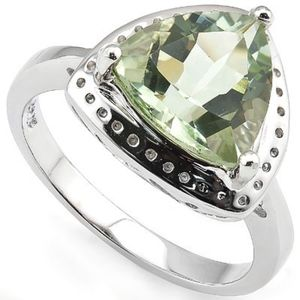Ring 3.75 Ct Green Amethyst 925 Sterling Silver